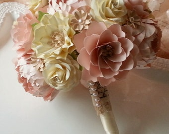 Handmade Paper Bouquet - Wedding Bouquet - Paper Flower Bouquet - Vintage Shabby Chic - Pink and Ivory - Custom Made