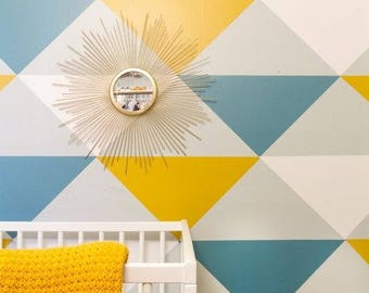 Colorful triangles self adhesive vinyl wallpaper, removable nursery mb081