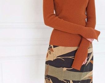 Sils skirt - sandwashed silk chinoiserie print faux-wrap skirt