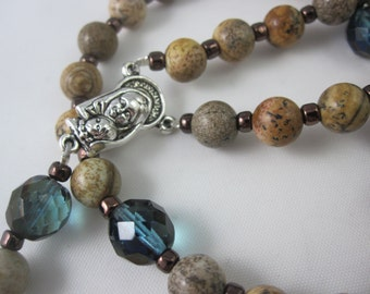 Picture Jasper and Teal Fire-Polished Glass Rosary