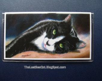 Cat Checkbook Cover - Tuxedo Cat Under The Sun