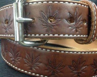 Cannabis leaf embossed leather belt