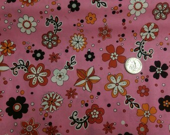 Fabric by the Yard hot pink red black flowers 100% cotton soft craft sewing project quilting floral 44 width