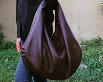 BROWN Large hobo Bag, brown soft leather hobo bag, leather hobo bag, boho bag, hobo bag large, brown leather bag, hobo bag brown, genuine le