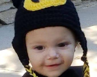 Batman crochet hat beanie with earflaps