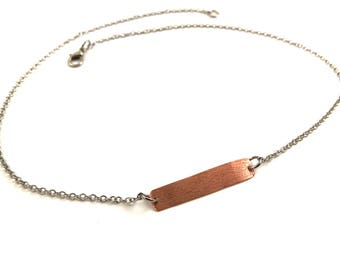 Copper Bar Necklace Pendant Necklace Jewelry