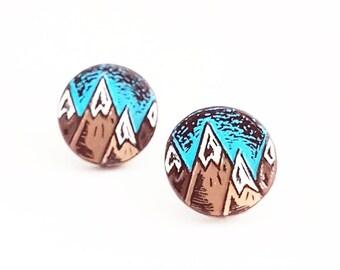 Mountain Stud Earrings, Mountain Post Earrings, Mountain Range Earrings, Mountain Jewelry