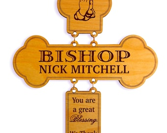 Pastor Appreciation Gift - Gifts for Bishop - Bishop Ordination Gift  - Bishop Thank You Gift - Wall Cross