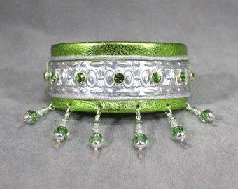 Metallic Lime Green, Silver Filigree, and Peridot Swarovski Crystal Leather Martingale Dog Collar