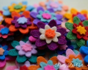 Mini Triple Layered Felt Flowers, Pack of Multi Coloured Small Flowers, Die Cut Floral Craft Embellishments