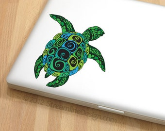 Ornate Sea Turtle Vinyl Decal | Sea turtle sticker free shipping laptop decal macbook decal car decal sea turtles turtle sticker