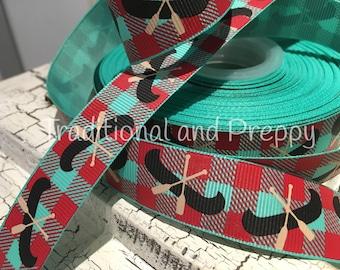 """7/8"""" Buffalo Plaid tropic tan Canoe grosgrain ribbon"""