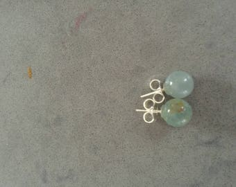 Navy silver and stone earrings