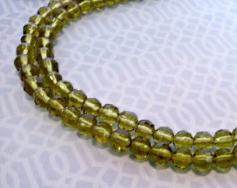 Vintage Necklace, Double Strand Peridot Color Glass Bead Necklace, Adjustable Hook Clasp, Circa 1970s, Includes Gift Box