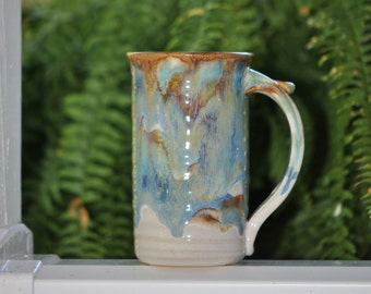 Pottery  Coffee Mug in Tri-Color Glaze  Stoneware 16 oz large