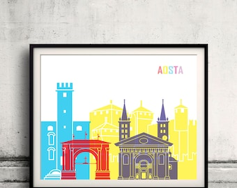 Aosta skyline Pop INSTANT DOWNLOAD 8x10 inches Poster Wall art Illustration Print Art Decorative - 2131