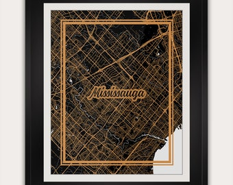 Mississauga - Ontario - Canada - Minimalist City Map Art Print - 11x14 Inches - Office Living Room Alternative Art Deco Home Decor Poster