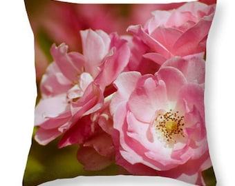 Pink Roses Pillow Throw Pillow / Pillow Case.  Floral Pillow. Outdoor Seat Cushion. Blooming Flowers Pillow.  Botanical Photo Decor