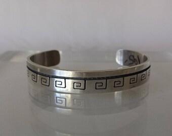 Vintage Sterling Silver Hopi Design Native American Cuff Bracelet Estate 28.4 gr
