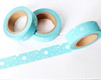 Aqua Bubbles Washi Tape. 15mm x 10m. Pretty Masking Tape. Blue Washi Tape. Aqua Planner Supplies. Cute Washi Tape. Summer Washi Tape.