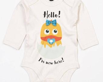 Cute baby chick, Hello I'm here-baby onesie with hand made hair tie-Ildinoblu