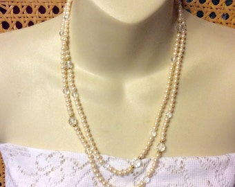 Vintage signed Monet pearls and faceted acrylic beads wedding necklace.
