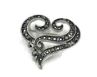 Silver Tone Heart Marcasite Brooch Shawl Pin Scarf Pin Jewelry Art Deco  Designer Vintage Estate Gift Ideas Vintage  Jewelry