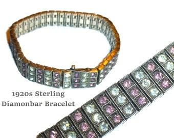 Art Deco 1920s Sterling Silver & Rhinestone Bracelet. 3 Row Diamonbar Beautiful Dazzling Stones of Pink and White. Wachenheimer Bros.