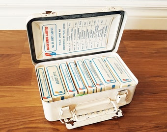 Rare 1960s Fleck Bros. First Aid Kit, Fully Complete And Unused, Vintage New Old Stock First Aid Kit