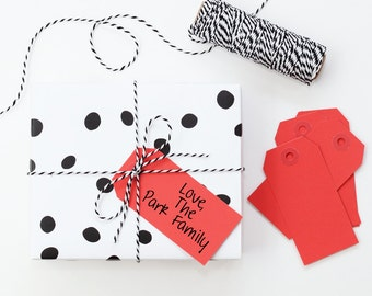 Christmas Gift Tags Red Paper Tags Red Favor Label Valentine's Day Party Supplies Solid Color Paper Hanging Tag Red Gift Wrap / Set of 10