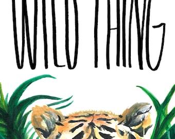 Tiger Greeting card, Tiger birthday card, Wild thing birthday card, Art Greeting card, Wild thing card, Tiger acrylic card, Tiger card