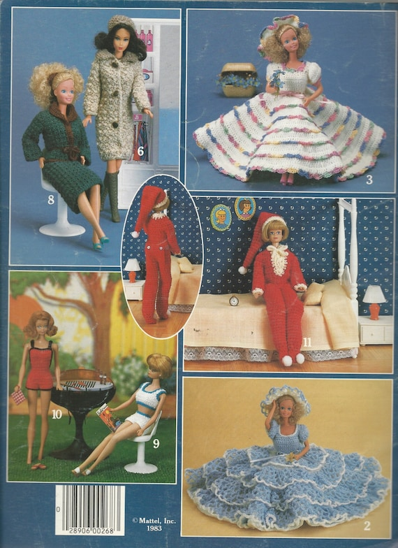 Fashion Doll Clothes Pattern Booklet Barbie Size Crocheted