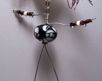 Whimsical Bead Belly Art Doll Necklace or Ornament OOAK Handmade Shrink Art by Jennifer Obertin