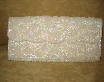 50s Beaded Clutch Purse White Iridescent Sequins Vintage