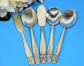 Five Silverplate Serving Pieces 1938 Danish Princess Butter Jelly Sugar