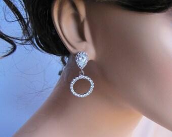 Bridal earrings, circle of love rhinestones hoop pairing with radiant jewel drop diamond look-alike cz sterling silver ear post - BE111