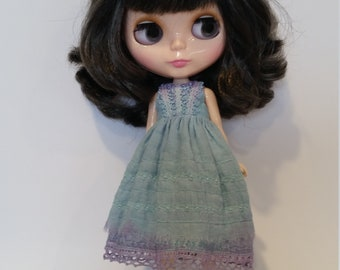 Blythe Dress – Teal/Purple - OOAK - Hand Dyed and Embroidered – Boho/vintage/shabby chic inspired.