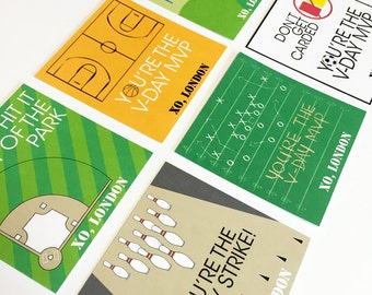 DIGITAL Set of 6 Sports Themed Valentine Cards with Baseball, Basketball, Golf, Bowling, Football, and Soccer in Bright Colors, Fun Graphics