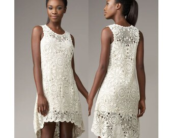 crochet dress pattern,detailed tutorial,crochet high low dress pattern,crochet wedding dress,crochet plus size,crochet boho dress pattern