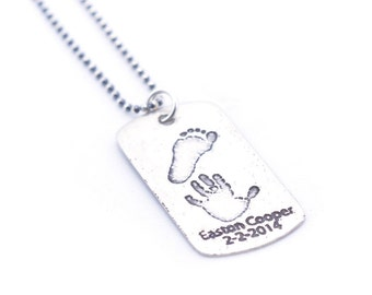 Hand/footprint Necklace | Custom Dog Tags | Baby Prints Necklace | Gift for New Parent | Gift for Dad | Personalized Gift | One Day Shipping