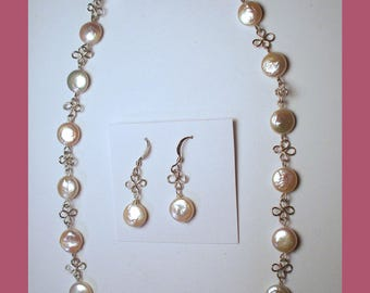 WHITE FRESHWATER PEARL Necklace & Earring Set -- Handcrafted Sterling Silver 4 Leaf Clover Design  –- Made In Maine