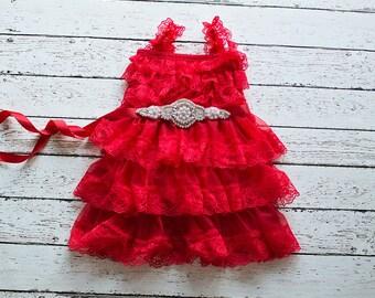 Flower girls dresses, Red Christmas Dress, Flower Girl Dress, Baby Christmas Dress, Red Tulle Flower Girl Dress, Rustic Lace Dress,
