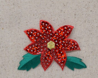Christmas - Sequin Red Poinsettia Flower - Iron on Applique - Embroidered Patch - 1113725