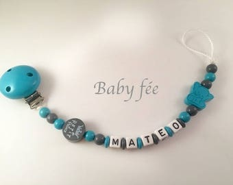 Pacifier pacifier wooden beads for boy personalized name elephant