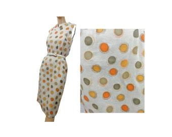 Polka Dot Dress Vintage 50s Dress Silk Sheath Summer Dress Deadstock Stacy Ames NWT Orange and Green Dots