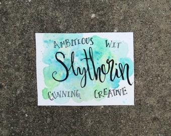 Slytherin Harry Potter Green Watercolor Brush Calligraphy