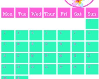 July 2018 Printable Calendar A4 Toucan