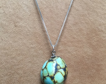 Blue and green turquoise pendant with sterling silver