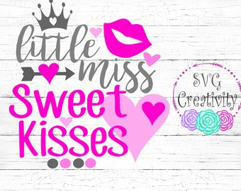 Little Miss Sweet Kisses SVG, Little Miss Vday SVG