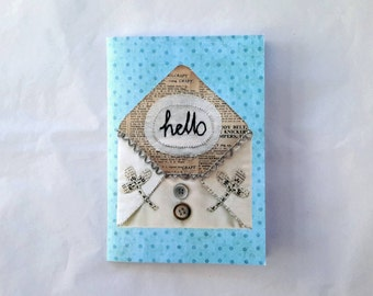 A6 Small Notebook - Digital Image of Textile Art Embroidery Hello Envelope